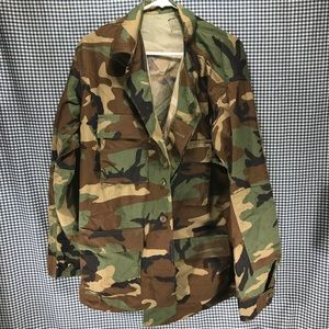 Army Button Front Camo Shirt Size Large Long
